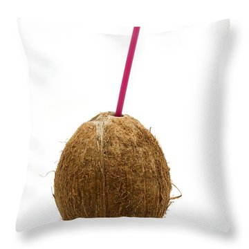 Coconut With A Straw Throw Pillow