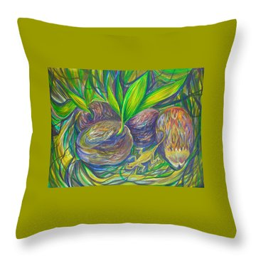 Throw Pillow featuring the painting Coconuts by Anna  Duyunova