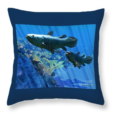 Coelacanth Fish Throw Pillow by Corey Ford