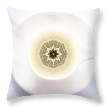 Throw Pillow featuring the digital art Coffe Foam Mandala by Klara Acel