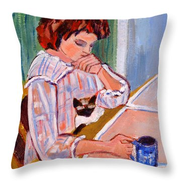 Coffee And Cat Throw Pillow