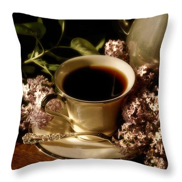 Coffee And Lilacs In The Morning Throw Pillow by Lois Bryan