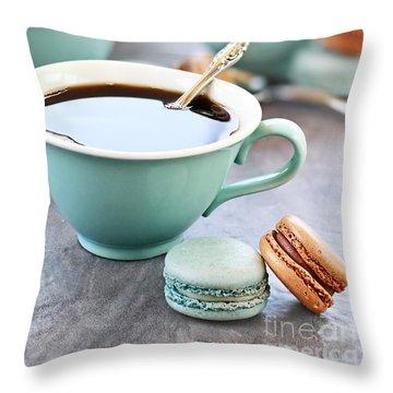 Coffee And Macarons Throw Pillow