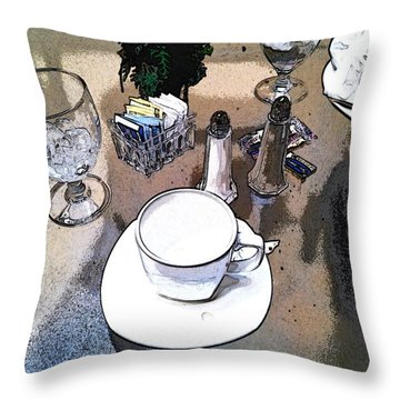Throw Pillow featuring the photograph Coffee At Lunch by Dave Luebbert