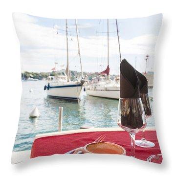 Coffee At Mediterranean Harbour Throw Pillow