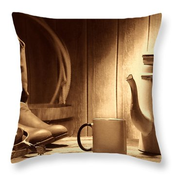 Coffee At The Ranch Throw Pillow