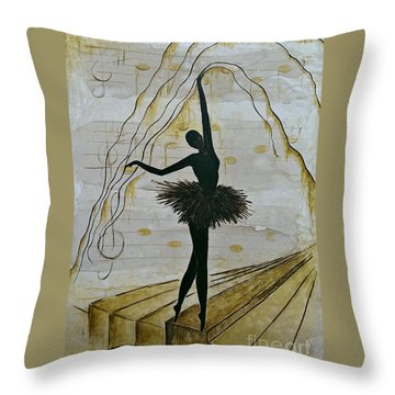 Throw Pillow featuring the painting Coffee Ballerina by AmaS Art