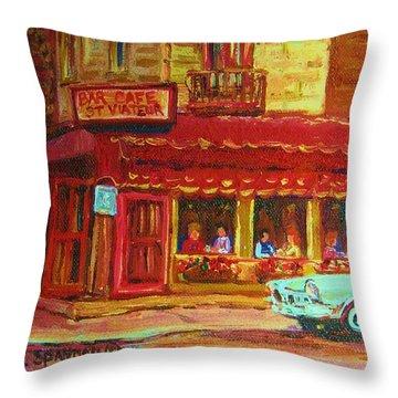 Coffee Bar On The Corner Throw Pillow by Carole Spandau