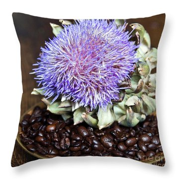 Coffee Beans And Blue Artichoke Throw Pillow