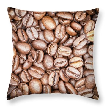 Coffee Beans Throw Pillow by Wim Lanclus