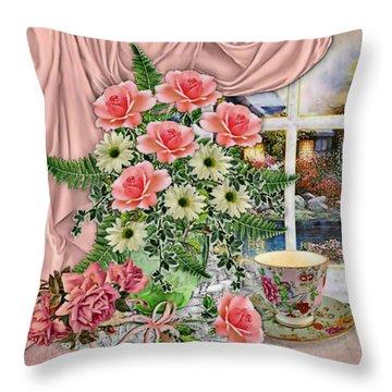 Throw Pillow featuring the digital art Coffee Break by Digital Art Cafe