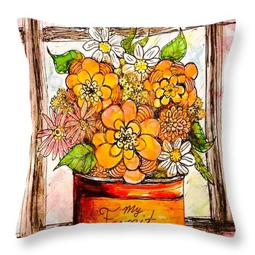 Coffee Can Bouquet  Throw Pillow