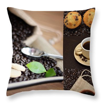 Coffee Collage Photo Throw Pillow