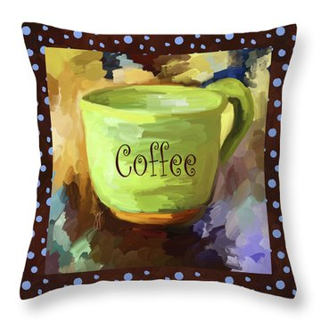 Coffee Cup With Blue Dots Throw Pillow by Jai Johnson