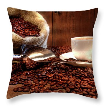 Coffee Cup With Burlap Sack Of Roasted Beans  Throw Pillow by Sandra Cunningham
