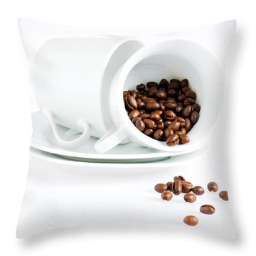 Throw Pillow featuring the photograph Coffee Cups And Coffee Beans  by Ulrich Schade