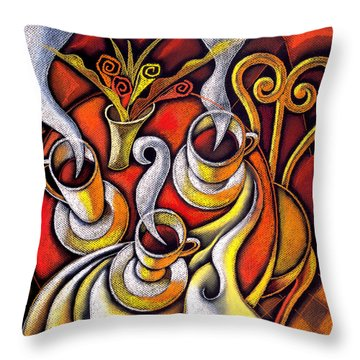 Throw Pillow featuring the painting Coffee Cups by Leon Zernitsky