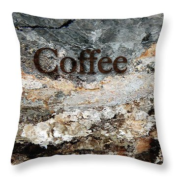 Coffee Edit 2 Brown Letters Throw Pillow
