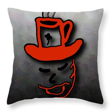 Coffee Hat Man Throw Pillow