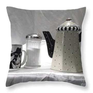 Throw Pillow featuring the photograph Coffee In Black And White by Donna Dixon