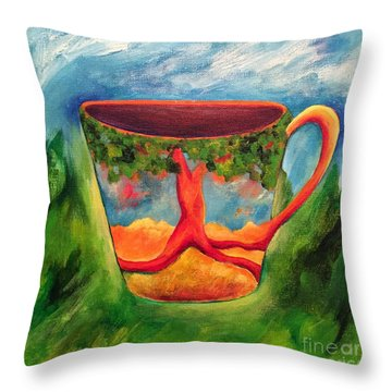 Coffee In The Park Throw Pillow