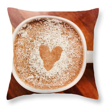 Coffee Love. White Coffee Cup On Wooden Background Throw Pillow