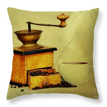 Coffee Mill And Cup Of Hot Black Coffee Throw Pillow