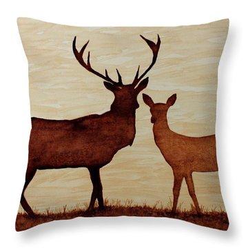 Coffee Painting Deer Love Throw Pillow by Georgeta  Blanaru