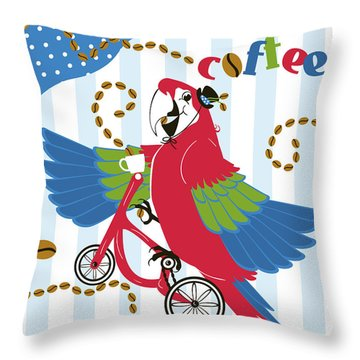 Coffee Parrot Throw Pillow