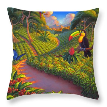 Throw Pillow featuring the painting Coffee Plantation by Robin Moline