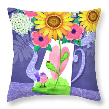Coffee Pot Surprise Throw Pillow