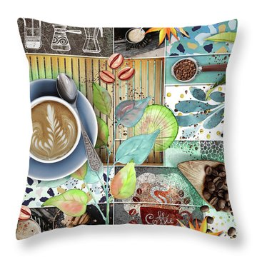 Coffee Shop Collage Throw Pillow