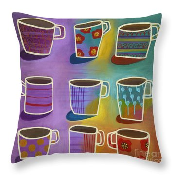 Coffee Time Throw Pillow by Carla Bank