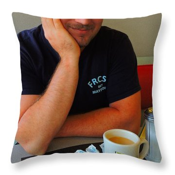 Throw Pillow featuring the photograph Coffee With... by Laura Ragland