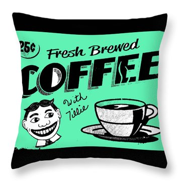Coffee With Tillie Throw Pillow