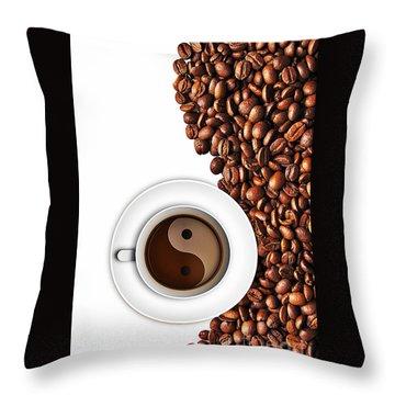 Coffee Yin And Yang Throw Pillow