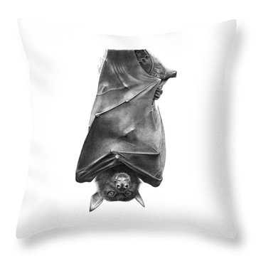 Coffie The Fruit Bat Throw Pillow by Abbey Noelle