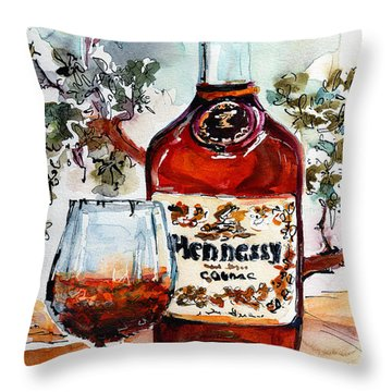 Cognac Hennessy Bottle And Glass Still Life Throw Pillow