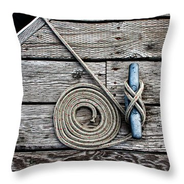 Coiled Mooring Line And Cleat Throw Pillow
