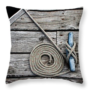 Coiled Mooring Line And Cleat Square Version Throw Pillow