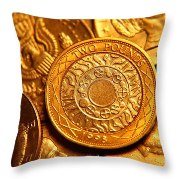Coins In Macro Throw Pillow by Micah May