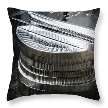 Coins Of Silver Stacking Throw Pillow