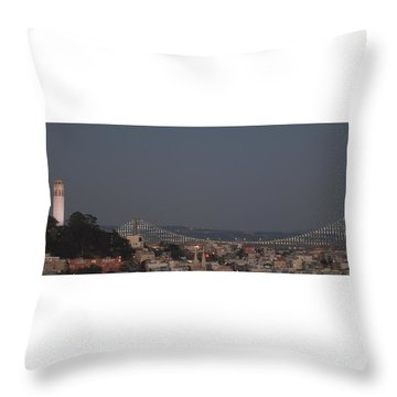 Coit Tower And Bay Bridge Throw Pillow