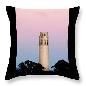 Coit Tower At Sunset Throw Pillow