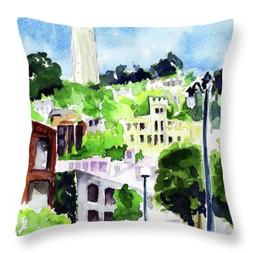 Coit Tower From The Embarcadero Throw Pillow