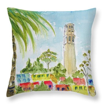 Throw Pillow featuring the painting Coit Tower by Pat Katz