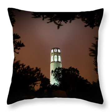 Coit Tower Through The Trees Throw Pillow