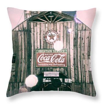 Coke Barn Throw Pillow