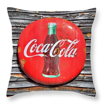Coke Throw Pillow by Marion Johnson