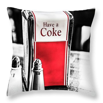 Throw Pillow featuring the photograph Coke Napkins by Karol Livote